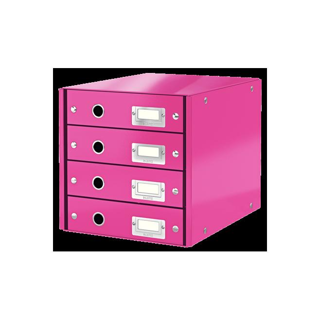 Pojemnik z 4 szufladami Leitz C&S WOW - różowy