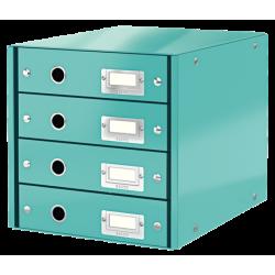 Pojemnik z 4 szufladami Leitz WOW Click & Store - turkusowy