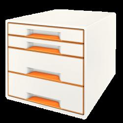 Pojemnik z 4 szufladami Leitz WOW - biały/pomarańczowy