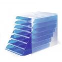 Pojemnik z 7 szufladami IDEALBOX - niebieski / transparentny
