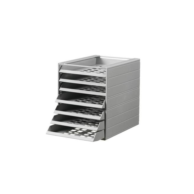 Pojemnik z siedmioma szufladami do montażu IDEALBOX - jasnoszary