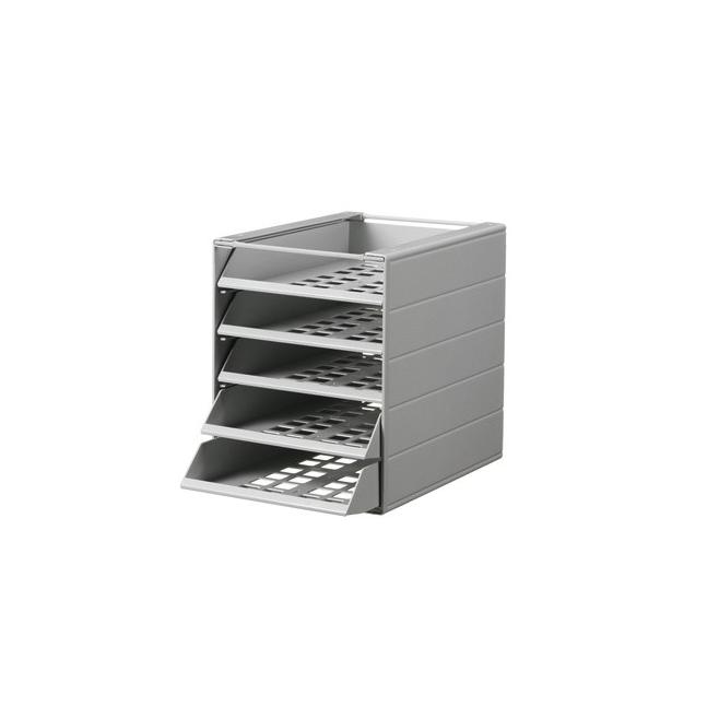 Pojemnik z pięcioma szufladami do montażu IDEALBOX - jasnoszary
