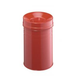Kosz na śmieci Durable Safe+ 15l - metalowy - czerwony