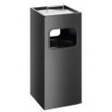 Kosz na śmieci metalowy z popielnicą 17l - czarny
