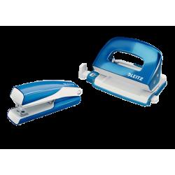 Zszywacz+dziurkacz mini Leitz WOW - niebieski metaliczny