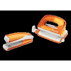 Zszywacz+dziurkacz mini Leitz WOW - pomarańczowy metaliczny