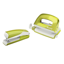 Zszywacz+dziurkacz mini Leitz WOW - zielony metaliczny