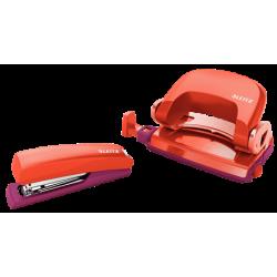 Zszywacz + dziurkacz mini Leitz Urban Chic - czerwony