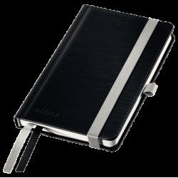 Notatnik Leitz Style A6 w kratkę, oprawa twarda - czarny