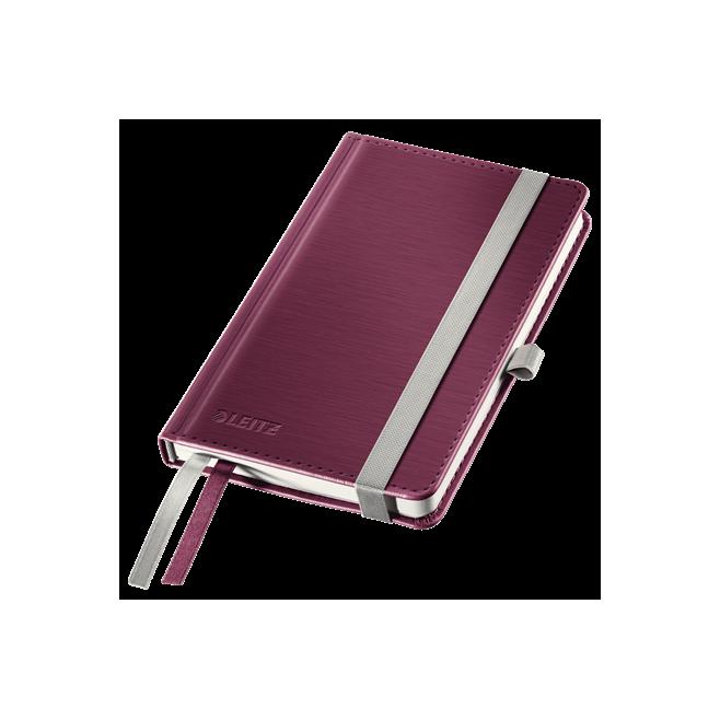 Notatnik Leitz Style A6 w kratkę, oprawa twarda - ciemnoczerwony