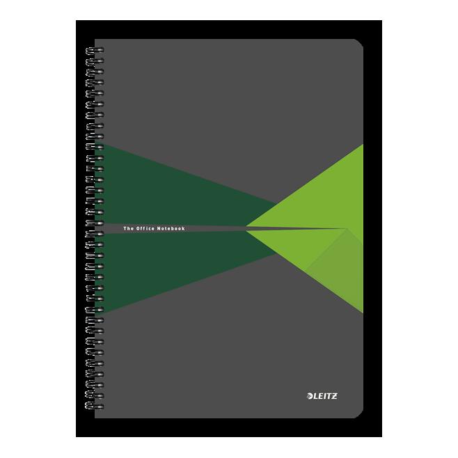 Kołonotatnik Leitz Office A4 PP, w kratkę - szaro-zielony