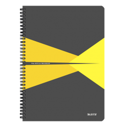 Kołonotatnik Leitz Office A4 PP, w kratkę - szaro-żółty