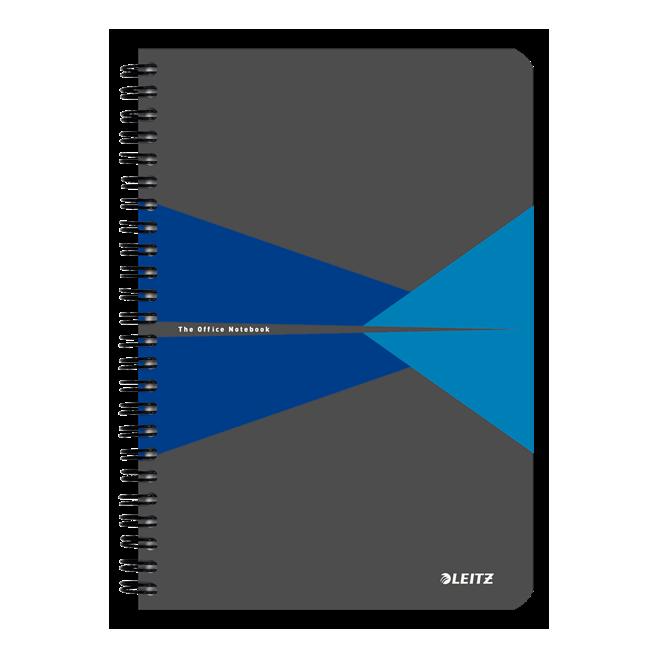 Kołonotatnik Leitz Office A5 PP, w kratkę - szaro-niebieski