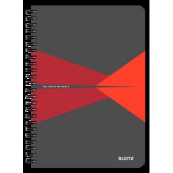 Kołonotatnik Leitz Office A5 PP, w linie - szaro-czerwony